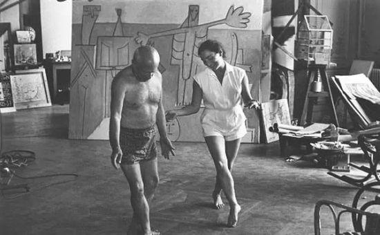 63岁的毕加索和17岁的情人吉纳维夫