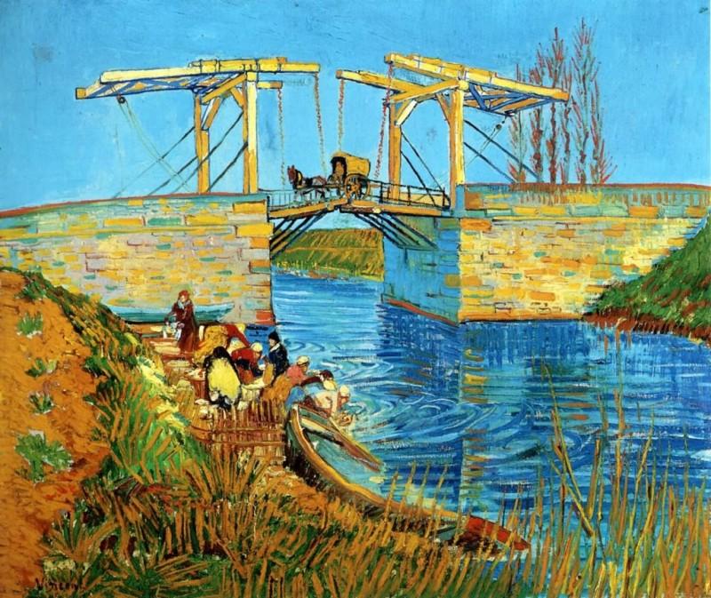 有妇女在洗衣服的阿尔吊桥 梵高
