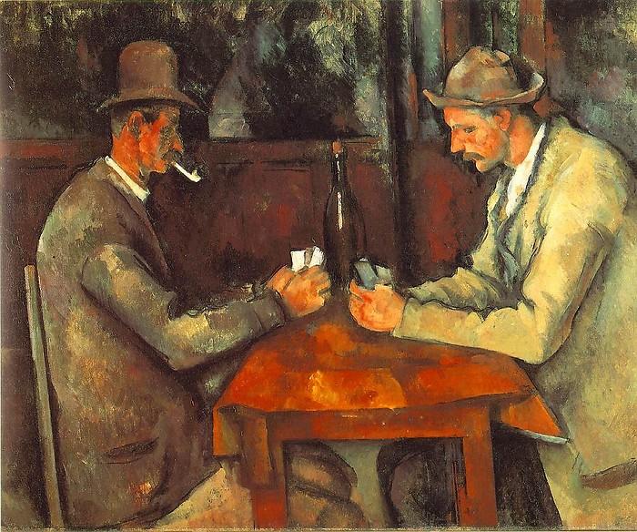 法国画家保罗塞尚 玩牌者