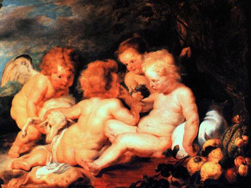 鲁本斯  幼儿基督与约翰及二天使