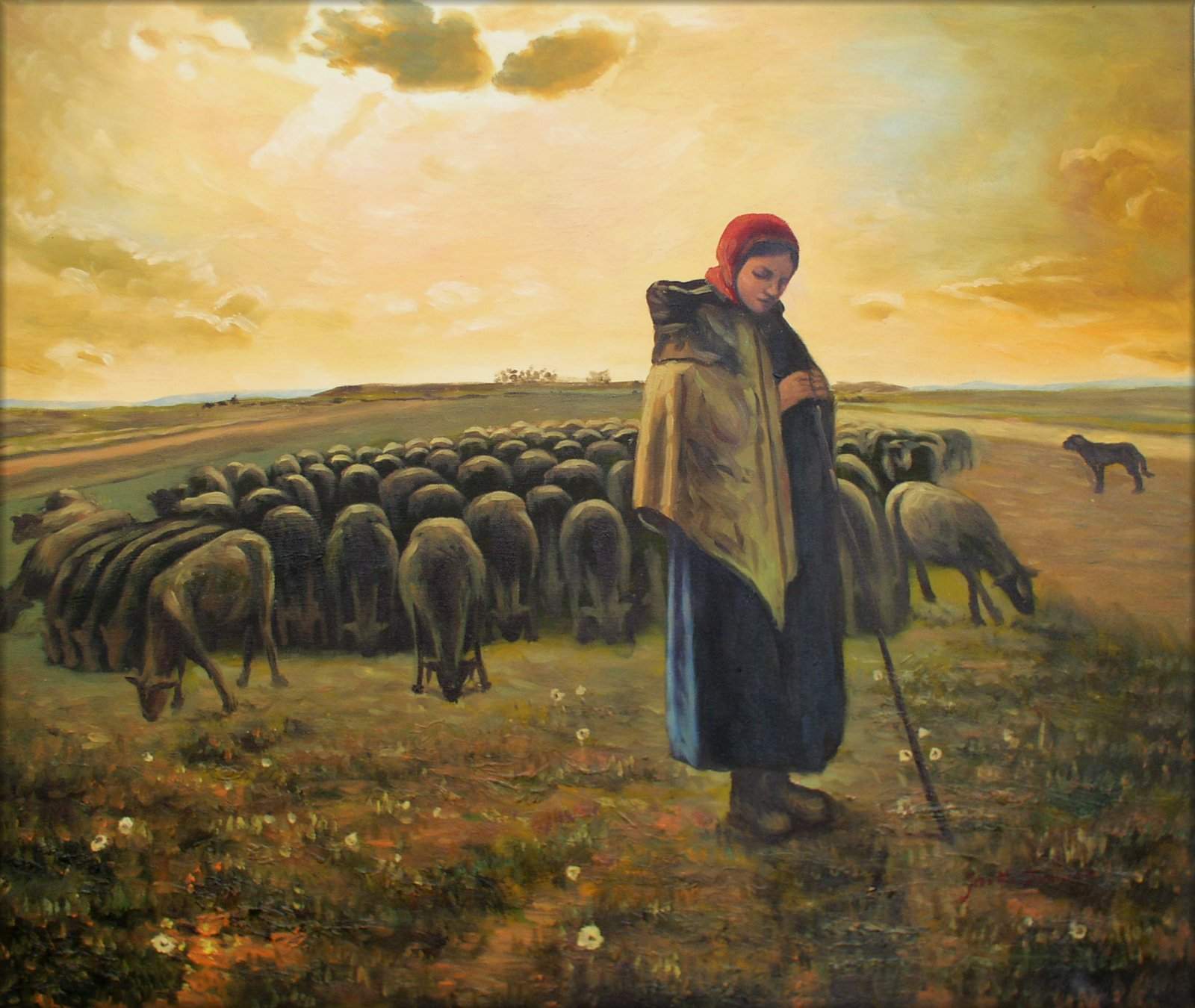 让·弗朗索瓦·米勒《牧羊女与群羊》