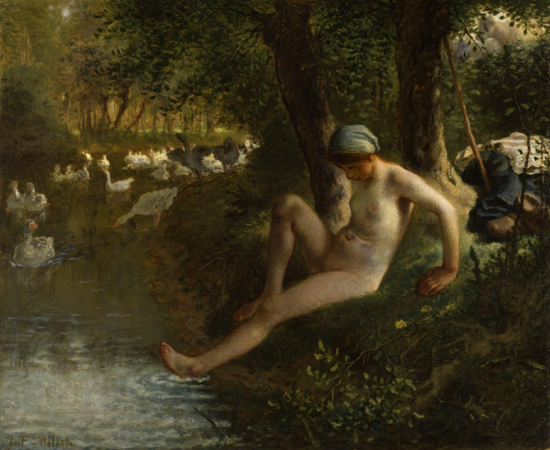 《沐浴的放鹅少女》