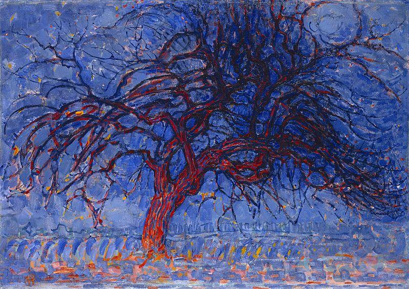 风格派皮特·蒙德里安抽象油画作品《夜晚的红树》