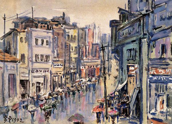 《重庆雨中都邮街》