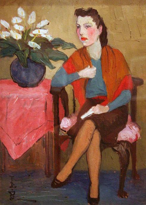 《披红巾妇女》