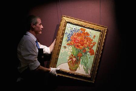 梵高静物油画《雏菊与罂粟花》