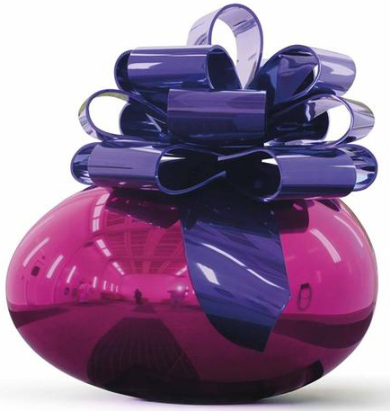 杰夫·昆斯,《光滑的蛋与蝴蝶结(宝蓝与紫色)》(Smooth Egg with Bow (MagentaViolet) ,创作于1994–2009)