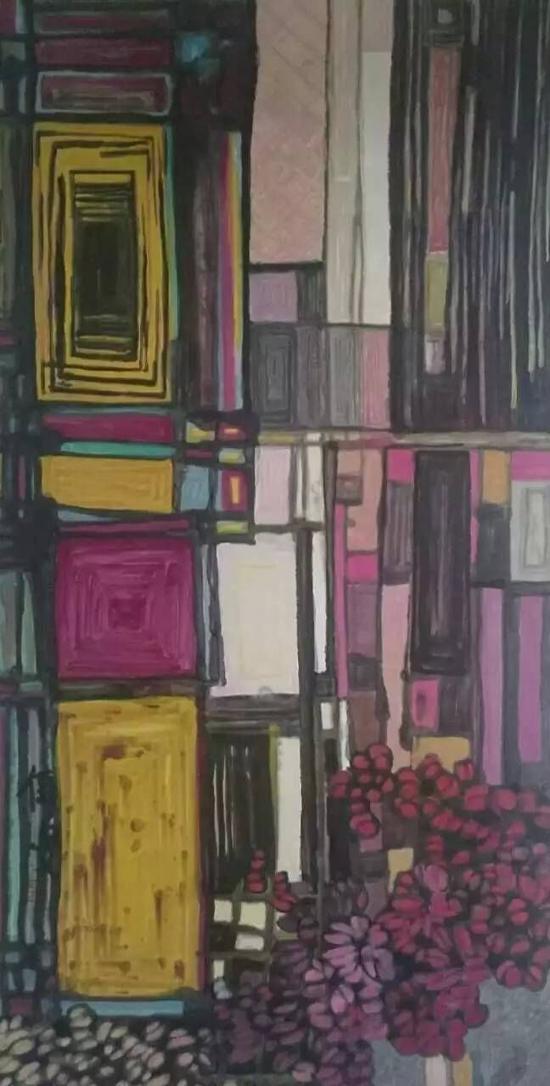 杨佴旻 《光的戈壁》 2016年 136x68cm 纸本设色