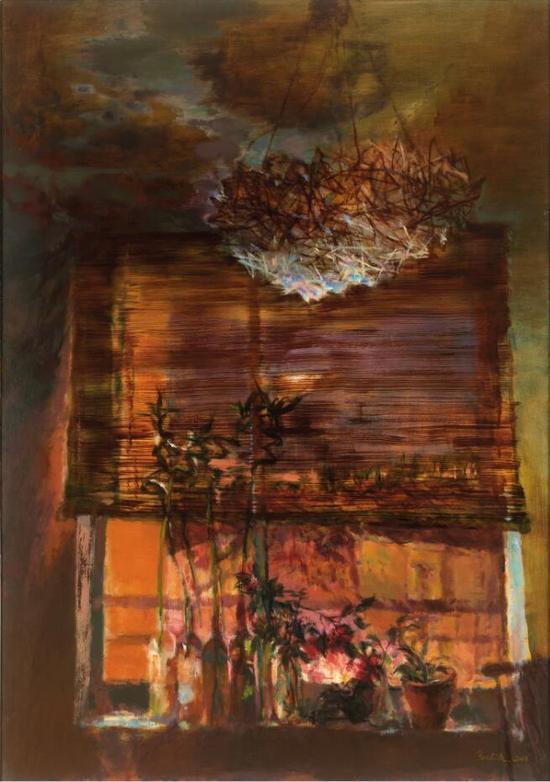 郭健濂 《夜窗之邀月》162x114cm 布面油画 2013年