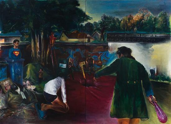 蒋华君 《一切悲伤都可以接受,如果被讲述成故事》260x360cm 布面油画 2014年