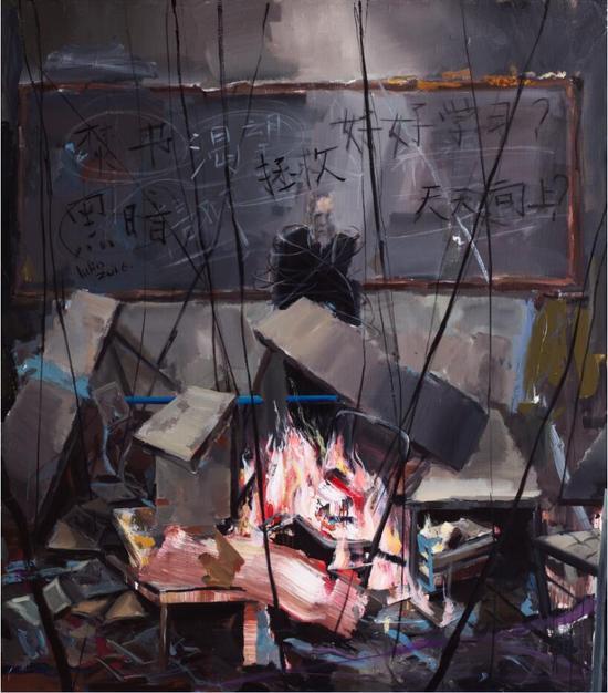 卢琳 《黑板前的人》 200x180cm 布面丙烯 2016年