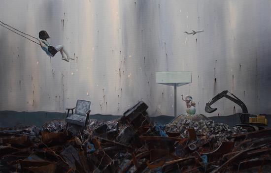 毛艳阳《划过天空的彩虹》 137.5×213.5cm 布面丙烯 2015年 米杰《你快乐我忧伤6》150×120cm 布面油画 2015年