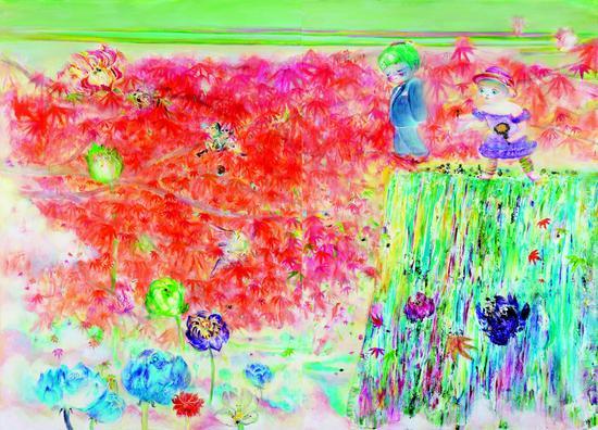 南方 《从此她们过上了快乐幸福的生活》 180×240cm 布面油彩丙烯 2012年