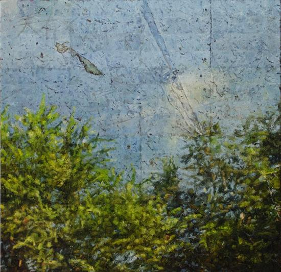 秦德宝《5.5625×5.6875 c㎡一刻》 91×89cm 亚麻布、油彩、铅笔 2016年