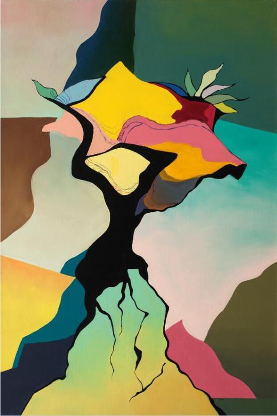 夏俭宁《抱着花的女人》180×120cm 布面油彩 2015年