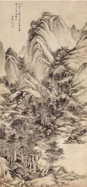 王鉴 仿巨然清溪待渡图  立轴 设色纸本  癸酉(1693年)作  211 × 99 cm