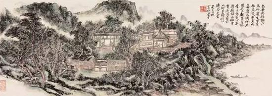 黄宾虹(1865-1955) 高阁清话  镜心 设色纸本  癸巳(1953年)作  45 × 126 cm