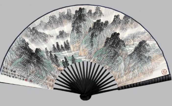 中国当代扇面水墨山水画画家_李明_Li Ming