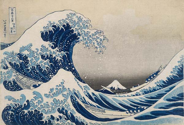 富岳三十六景之神奈川冲浪里,葛饰北斋,木版画,1831年