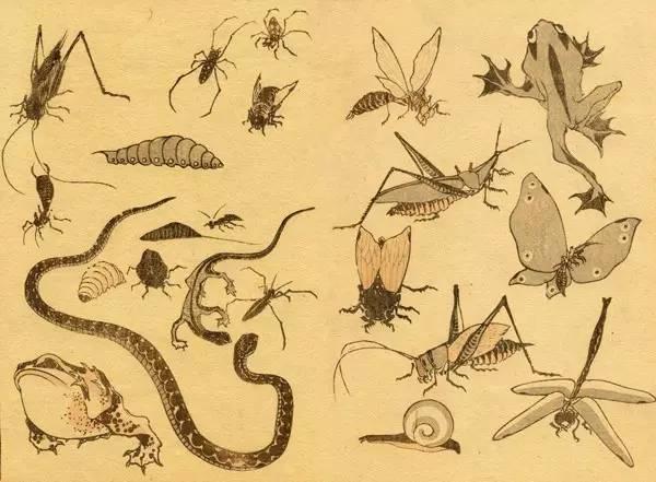 《北斋漫画》初编,葛饰北斋,木版画,1814年
