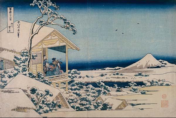 富岳三十六景之砾川雪旦,葛饰北斋,木版画,1831年