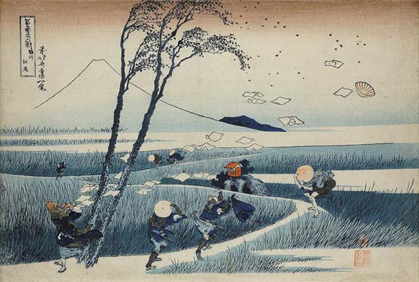 富岳三十六景之骏州江尻,葛饰北斋,木版画,1831年