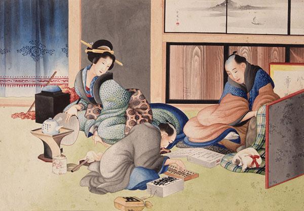 年终结算,葛饰北斋,肉笔画,1824-1826年