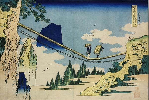 诸国名桥奇览之飞越边境的吊桥,葛饰北斋,木版画,1834年
