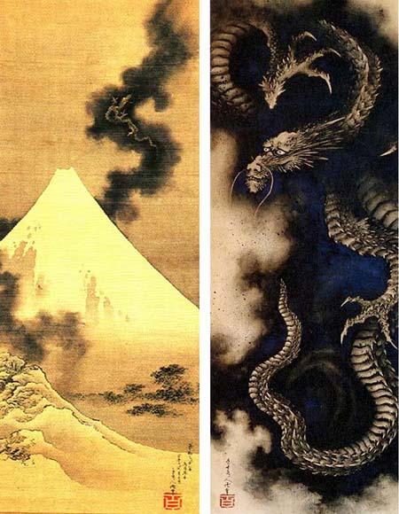 富士越龙图(左,被认为是绝笔),云中龙(右)葛饰北斋,肉笔画。1849年(被认为是绝笔)