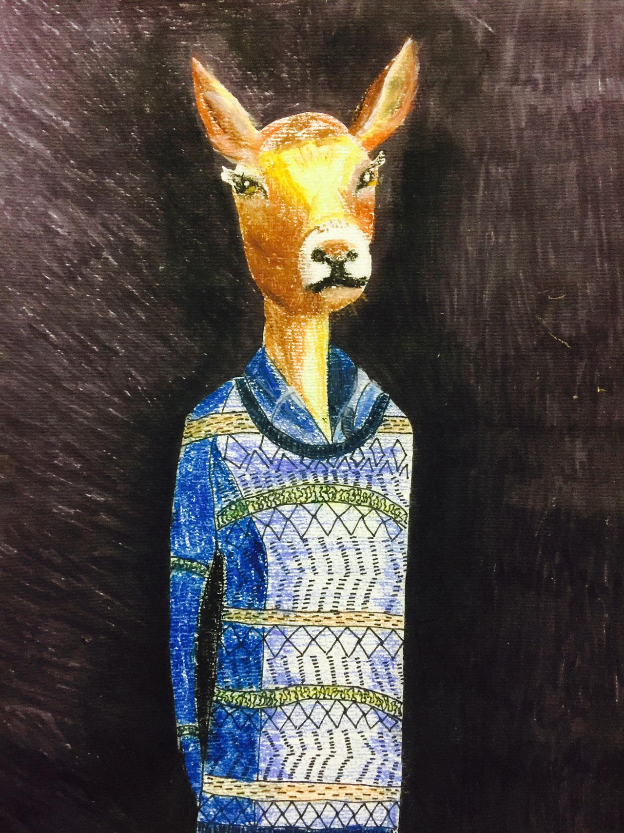 潘彦铮-优雅的鹿先生(装饰画)