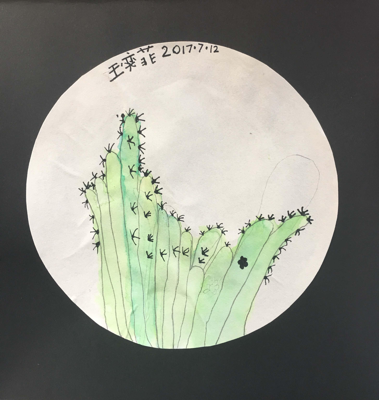 儿童画-仙人掌(水彩画)-王奕菲-国际青少年艺术家