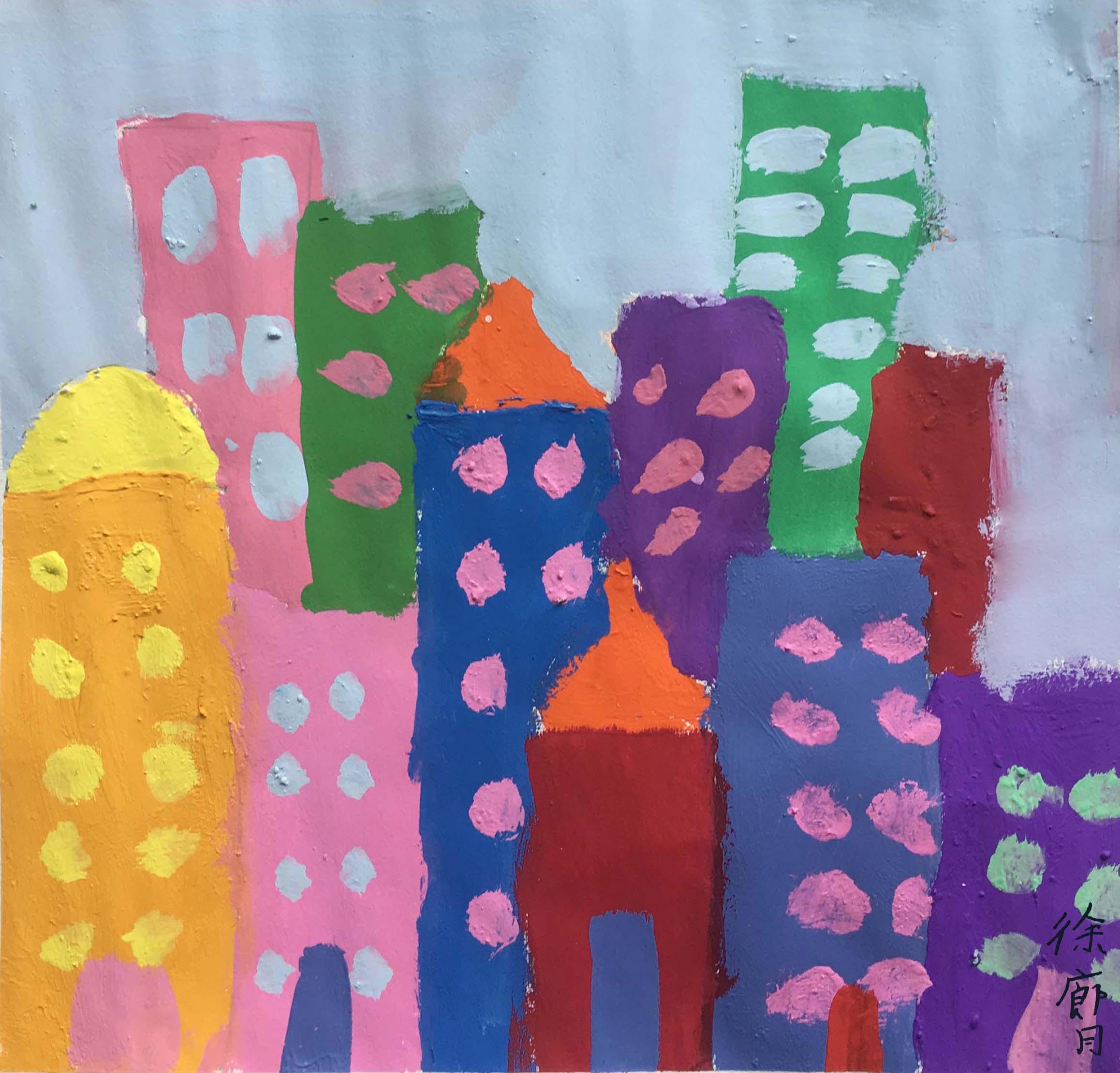 儿童画-城市(水粉画)-徐廊月-国际青少年艺术家