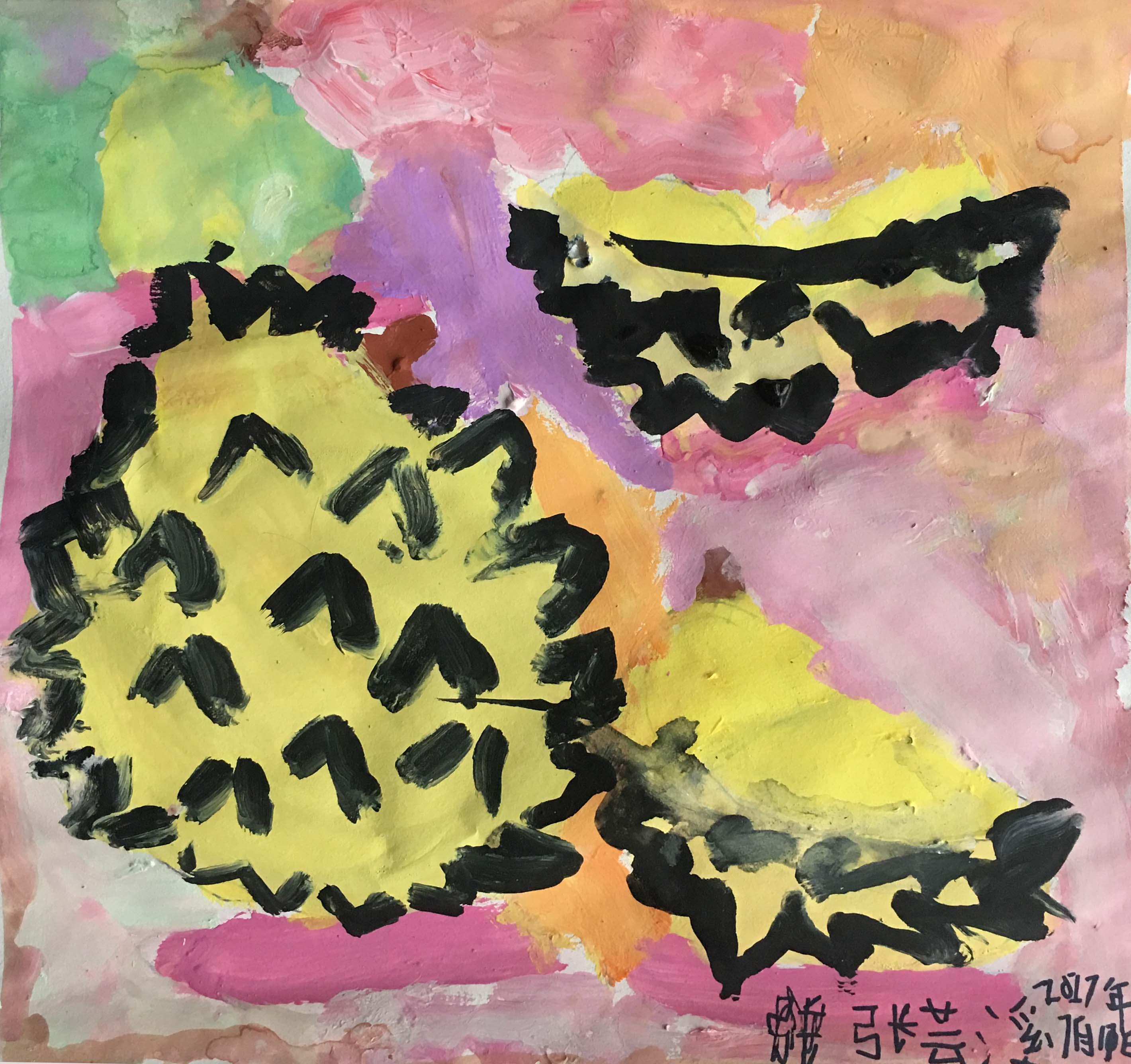 儿童画-榴莲(水粉画)-张芸溪-国际青少年艺术家