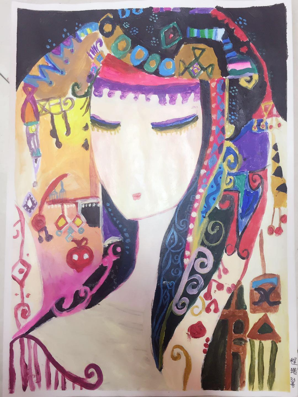 儿童画-托莉维雅少女(装饰画)-程诺-国际青少年艺术家