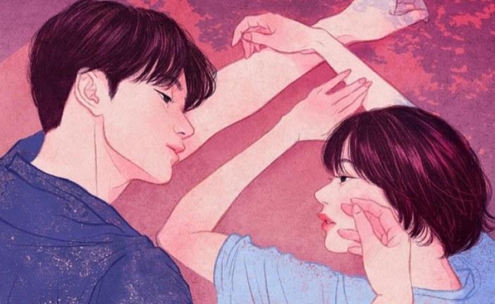 韩国插画师_Zipcy眼里《亲密的情侣触摸》