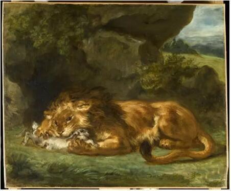 《狮子吞食兔子》(Lion dévorant un lapin),欧仁·德拉克罗瓦(Eugène Delacroix),卢浮宫博物馆,巴黎  Photo (C) RMN-Grand Palais (musée du Louvre) / René-Gabriel Ojéda