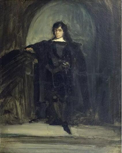 《哈姆雷特式的自画像》(Autoportrait en Hamlet),欧仁·德拉克罗瓦(Eugène Delacroix),欧仁·德拉克罗瓦国立美术馆,巴黎  Photo (C) musée national Eugène Delacroix
