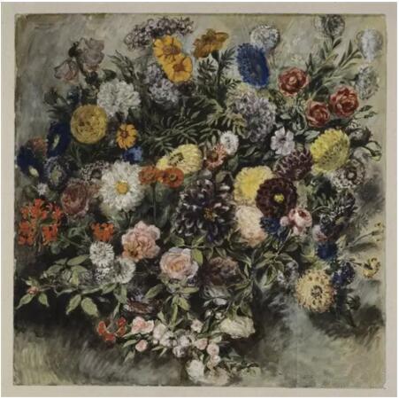 《花束》(Un Bouquet de fleurs),欧仁·德拉克罗瓦(Eugène Delacroix),欧仁·德拉克罗瓦国立美术馆,巴黎  Photo (C) RMN-Grand Palais (musée du Louvre) / Michèle Bellot